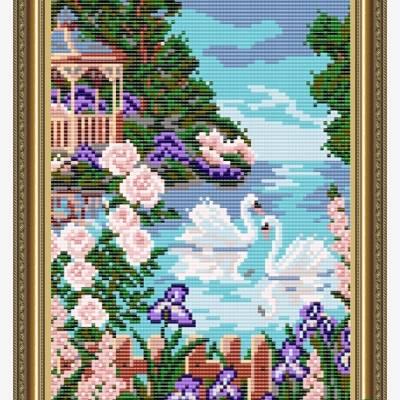 Схема для вышивки бисером На озере