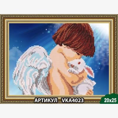 Схема для вышивки бисером Ангел с кроликом