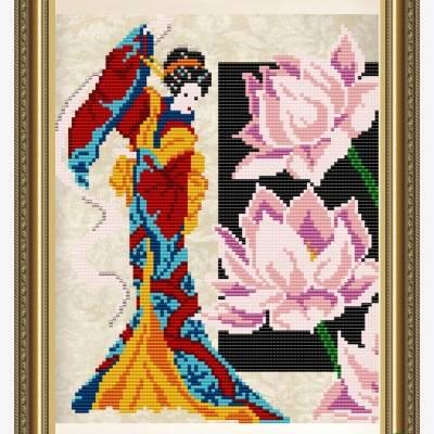 Схема для вышивки бисером Девушка с лотосом
