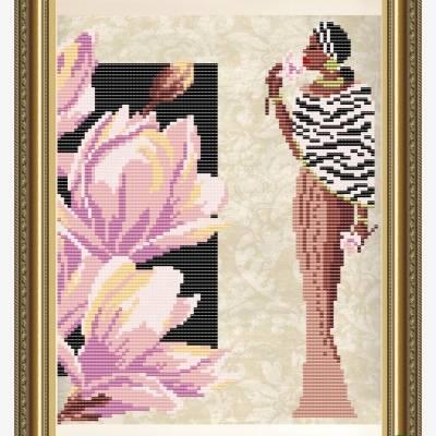 Схема для вышивки бисером Девушка с магнолией