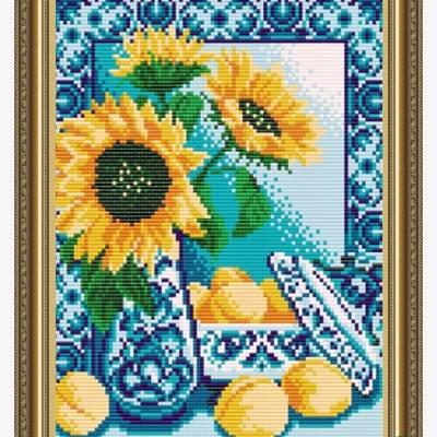 Схема для вышивки бисером Гжель. Персики