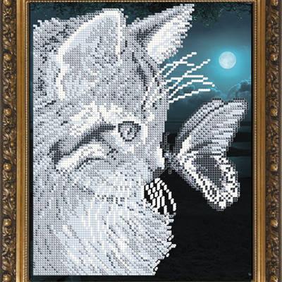 Схема для вышивки бисером Кот с бабочкой