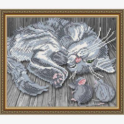 Схема для вышивки бисером Тише мыши