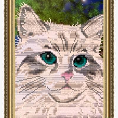 Схема для вышивки бисером Белый кот