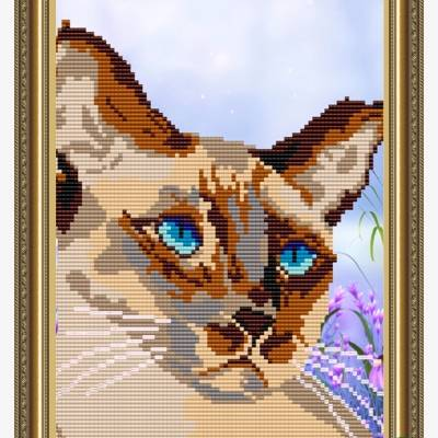 Схема для вышивки бисером Сиамский кот