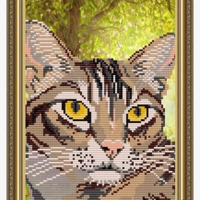 Схема для вышивки бисером Полосатый кот