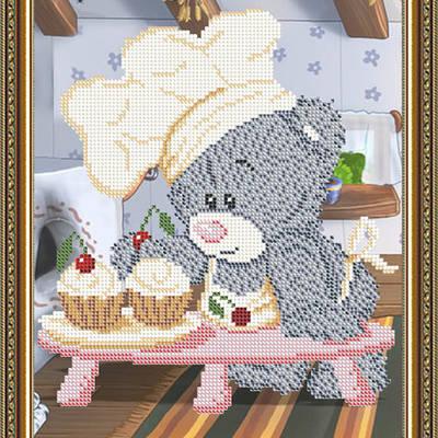 Схема для вышивки бисером Мишка кондитер