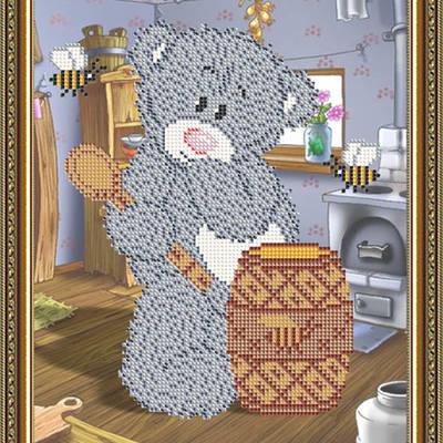Схема для вышивки бисером Мишка с медом