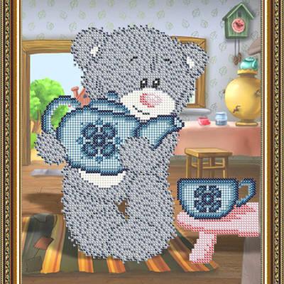Схема для вышивки бисером Мишка с чайником