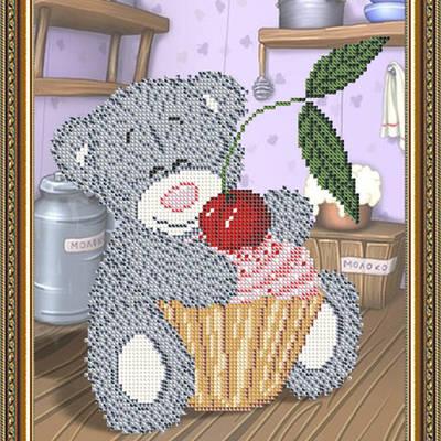 Схема для вышивки бисером Мишка с кексом