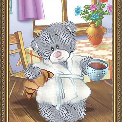 Схема для вышивки бисером Мишка с кофе