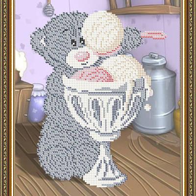 Схема для вышивки бисером Мишка с мороженным