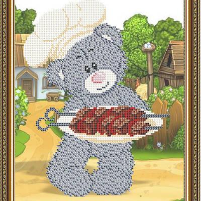 Схема для вышивки бисером Мишка с шашлыком
