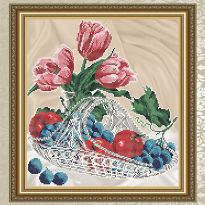 Схема для вышивки бисером Яблоки с виноградом в хрустале