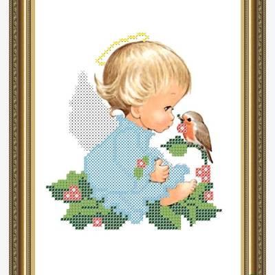 Схема для вышивки бисером Ангелочек с рябиной