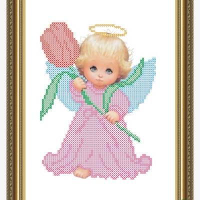 Схема для вышивки бисером Ангелочек с тюльпаном
