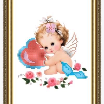 Схема для вышивки бисером Ангелочек с валентинкой