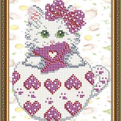 Схема для вышивки бисером Котенок в сердечках