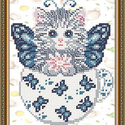 Схема для вышивки бисером Котенок в бабочках