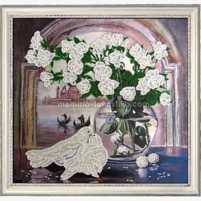 Набор для вышивки бисером Розы и голуби (по картине Е. Самарской)