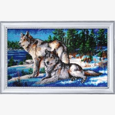 Набор для вышивки бисером Волки 2
