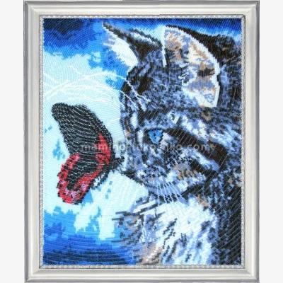 Набор для вышивки бисером Котенок и бабочка