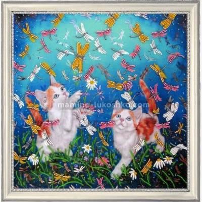 Набор для вышивки бисером Котята и стрекозы