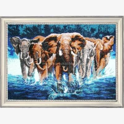 Набор для вышивки бисером Африканские слоны