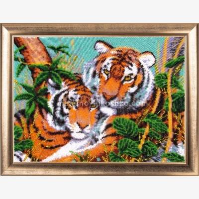 Набор для вышивки бисером Тигры в джунглях