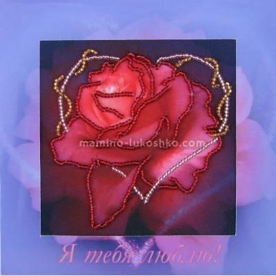 Набор для вышивки бисером открытка Роза
