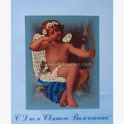 Набор для вышивки бисером открытка Амур