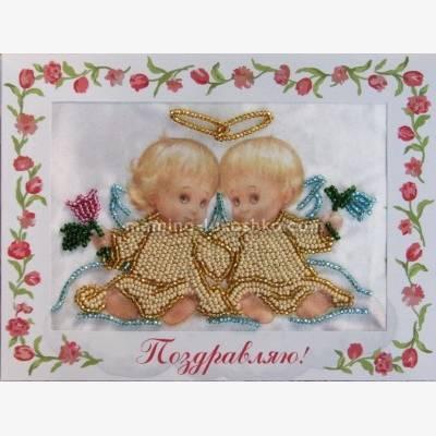 Набор для вышивки бисером открытка Ангелочки на облаке