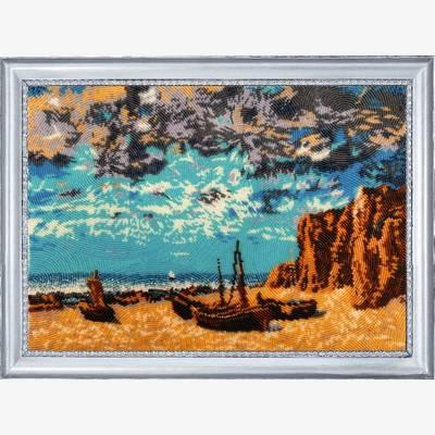 фото: картина для вышивки бисером Лодки на берегу