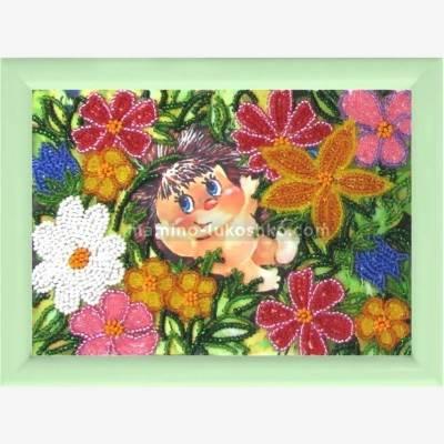 Схема для вышивки бисером Ёжик в цветах