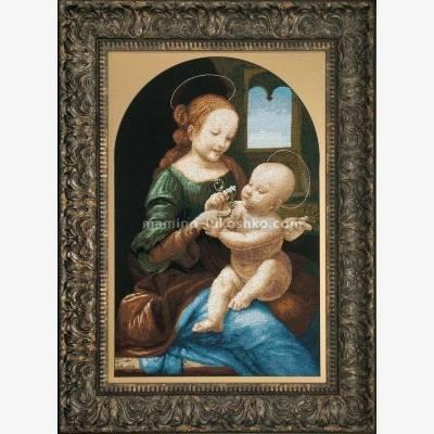 Набор для вышивки крестом По мотивам Леонардо да Винчи Мадонна Бенуа