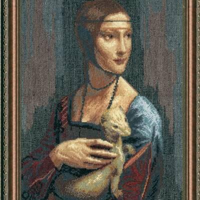 Набор для вышивки крестом По мотивам Леонардо да Винчи Дама с горностаем