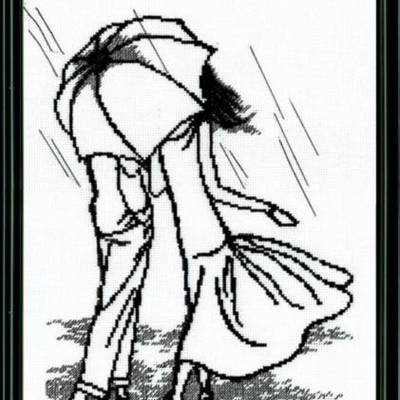 Набор для вышивки крестом &quot,Прогулка под дождем&quot,