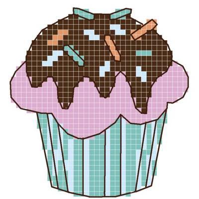 Схема для вышивания крестиком на водорастворимом флизелине Маффин шоколадный