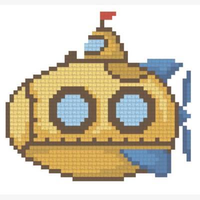 Схема для вышивания крестиком на водорастворимой канве Жёлтая субмарина