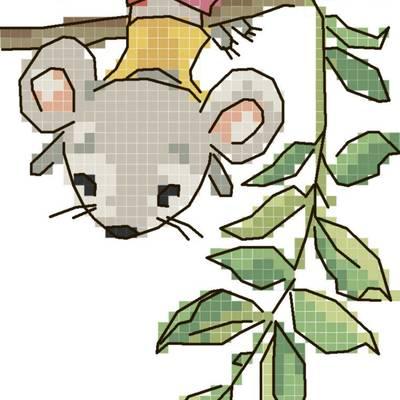 Схема для вышивания крестиком на водорастворимой канве Мышонок