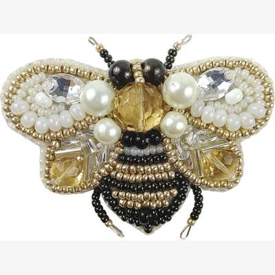 фото: брошь, вышитая бисером, Пчёлка