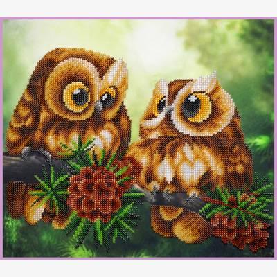 фото: картина для вышивки бисером пара сов на сосновой ветке