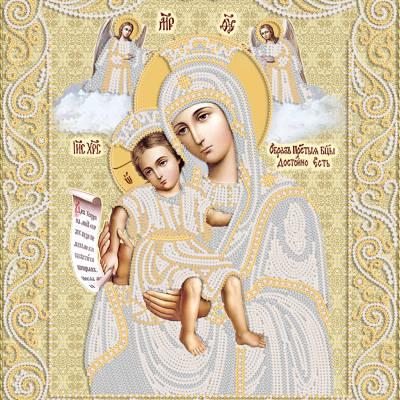 изображение: икона для вышивки бисером Икона Божией Матери Достойно есть (Милующая) (золото)