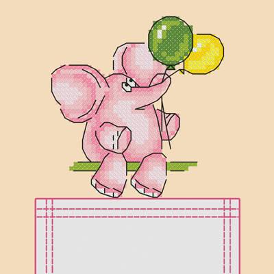 фото: схема на водорастворимой канве для вышивки на одежде Розовый слоник
