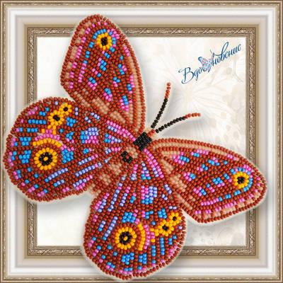 Набор для вышивания бисером на пластиковой канве Бабочка EUPTYCHIA AGATHA