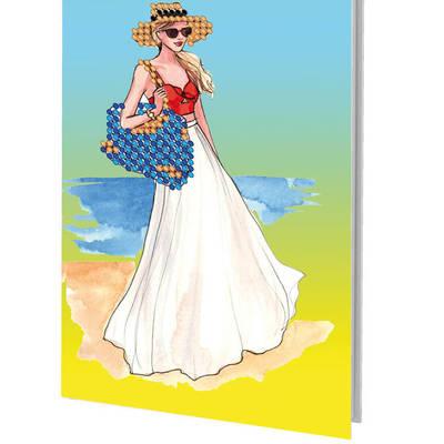 фото: сшитая обложка на паспорт для вышивки бисером девушка в шляпе