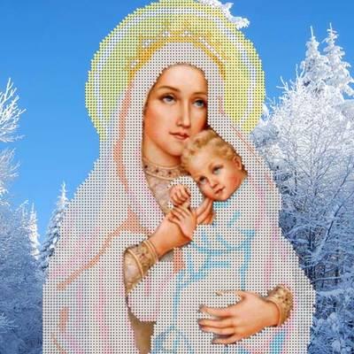 Схема для вышивки бисером Божия Матерь Снежная