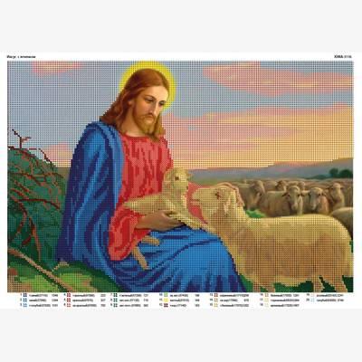 Схема для вышивки бисером Иисус с ягнёнком
