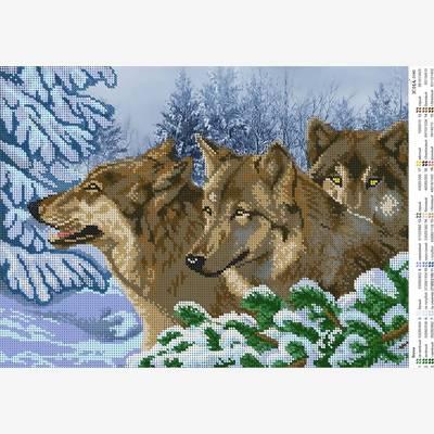 Схема для вышивки бисером Волки