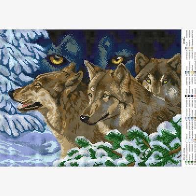 Схема для вышивки бисером Взгляд волка